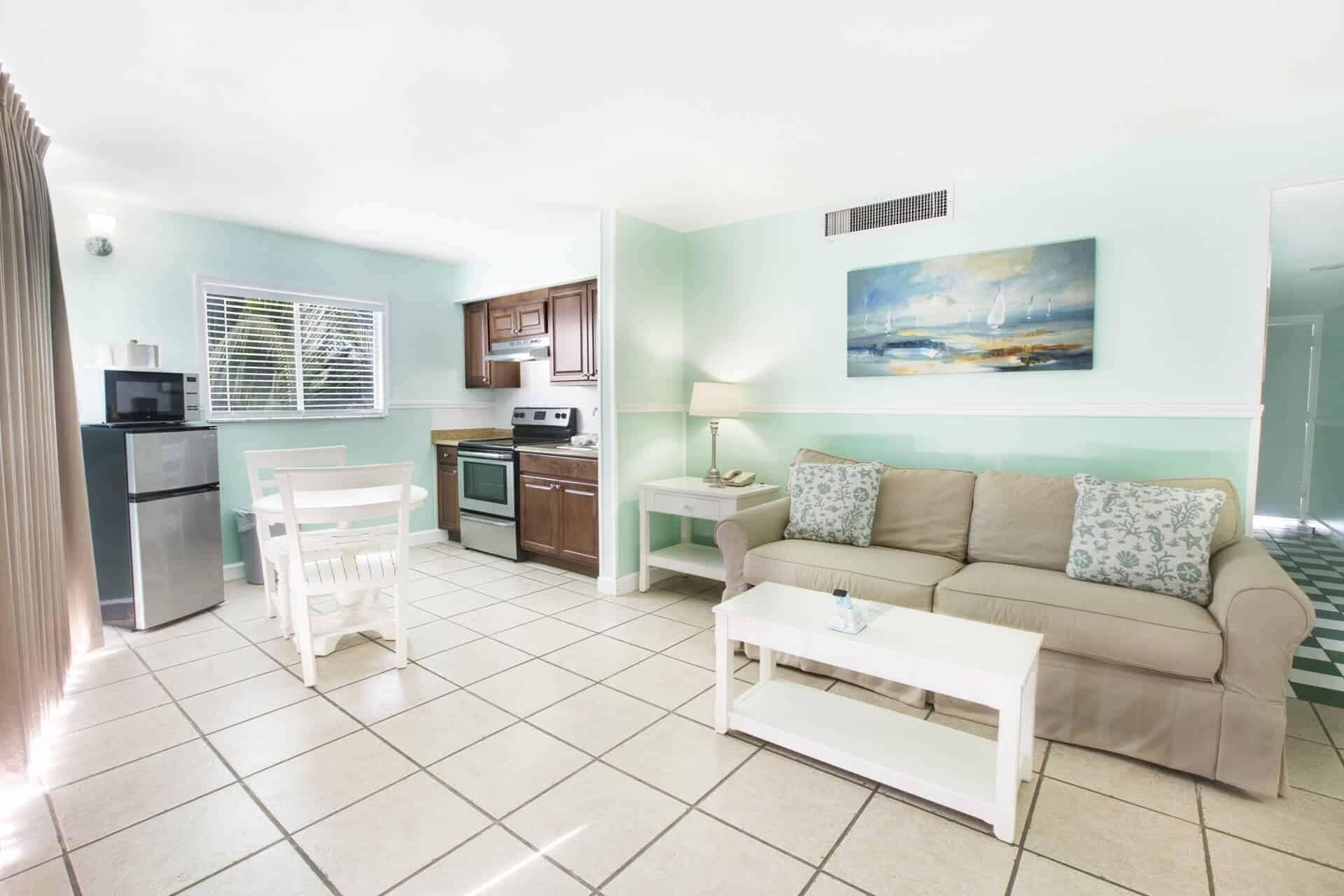 Beachfront One Bedroom Suite with open floor plan on Fort Myers Beach