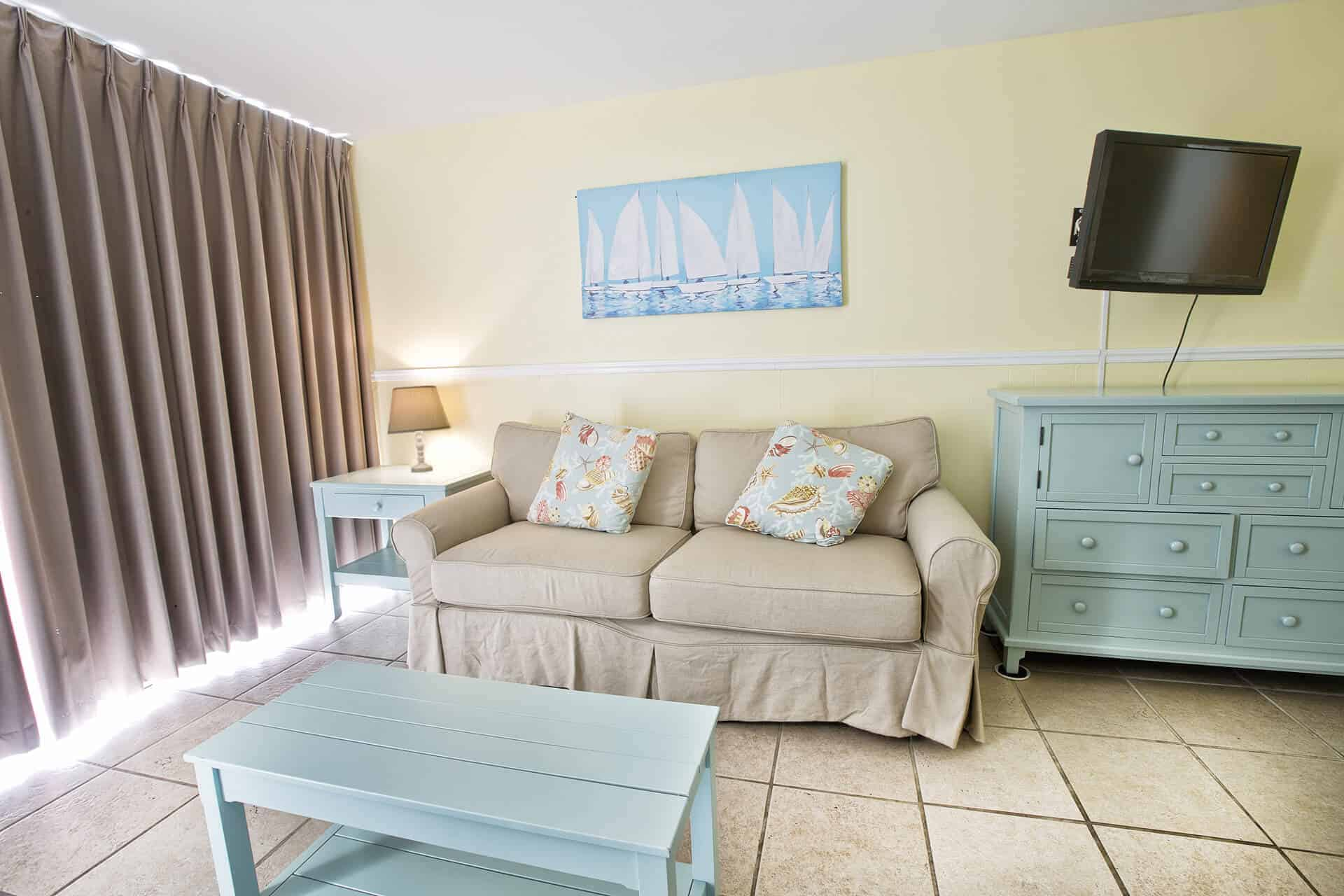 Studio Beachfront Sitting Area with Pullout Couch | Rooms Available | Fort Myers Beach