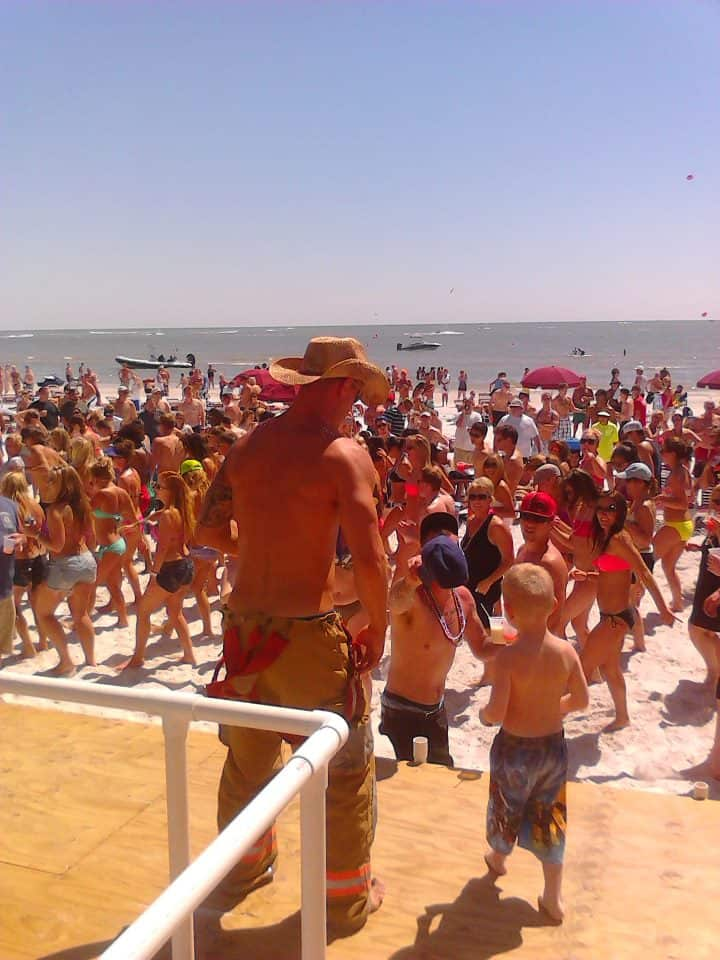 Lani Kai Spring Break | Cincinnati Firemen with kid on stage | Fort Myers Beach