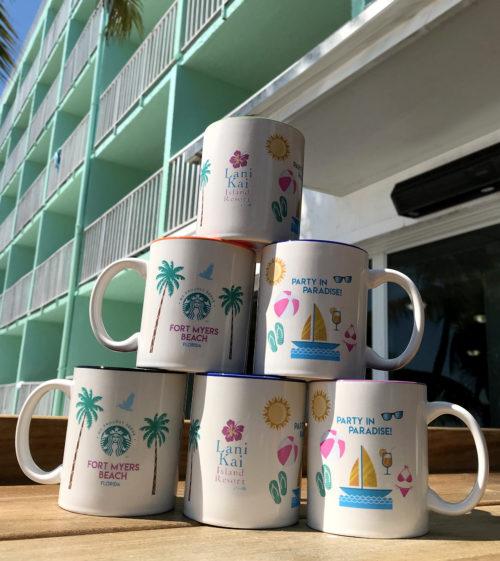 Lani Kai mugs stacked on top of each other | Lani Kai Mugs - Stacked